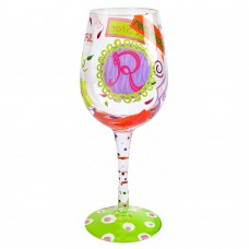 "LOLITA LETTER ""R"" WINE GLASS"