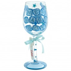 LOLITA NEW BABY BOY 'PERSONALISE IT' WINE GLASS