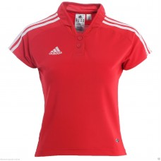 ADIDAS LADIES RED CLIMALITE POLO SHIRT