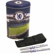 CHELSEA DUAL PEN & LEATHER CASE TIN SET