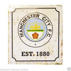 MANCHESTER CITY RETRO LOGO METAL SIGN