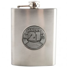 HAPPY BIRTHDAY 21ST HIP FLASK