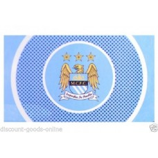 MANCHESTER CITY BULLSEYE FC OFFICIAL FOOTBALL FLAG 5FT x 3FT